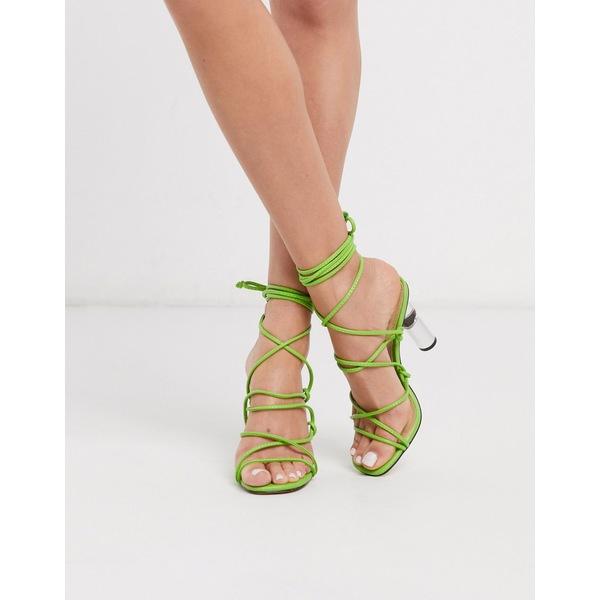 トゥラッフル レディース サンダル シューズ Truffle Collection tie leg heeled sandals with clear heel in lime Lime