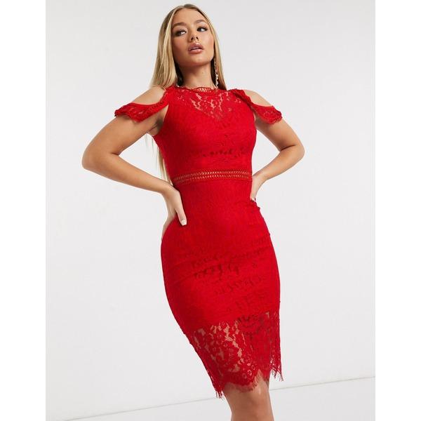 アックスパリ レディース ワンピース トップス AX Paris lace cold shoulder midi dress in red Red