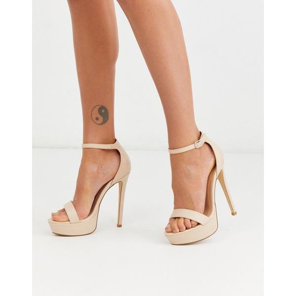 トゥラッフル レディース ヒール シューズ Truffle Collection platform barely there heeled sandals in beige Beige