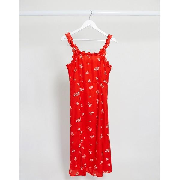 ジリ レディース ワンピース トップス Gilli square neck midi dress with ruffle detail in red ditsy floral Red