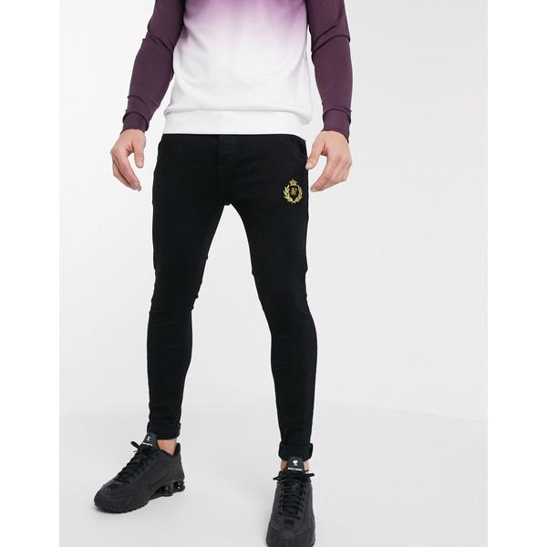 シックシルク メンズ デニムパンツ ボトムス Siksilk x Dani Alves low rise prestige jeans Black
