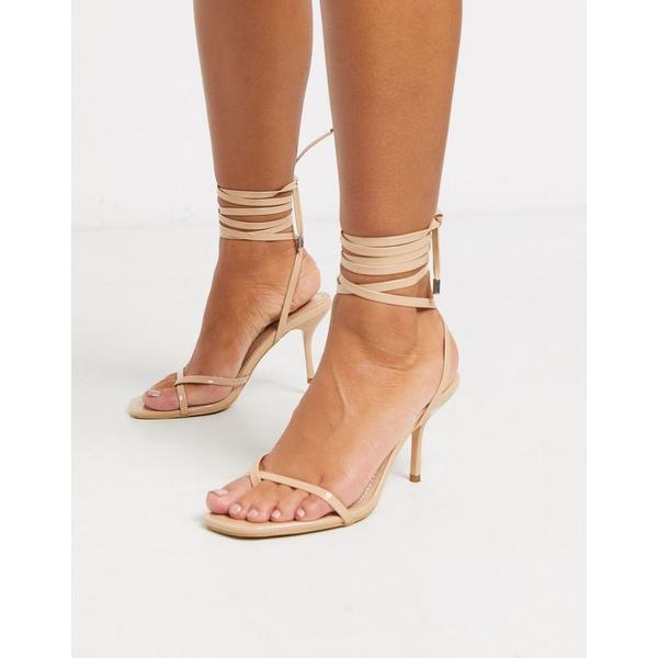 シミシューズ レディース ヒール シューズ Simmi London Kimberly strappy ankle tie sandals in beige Beige patent