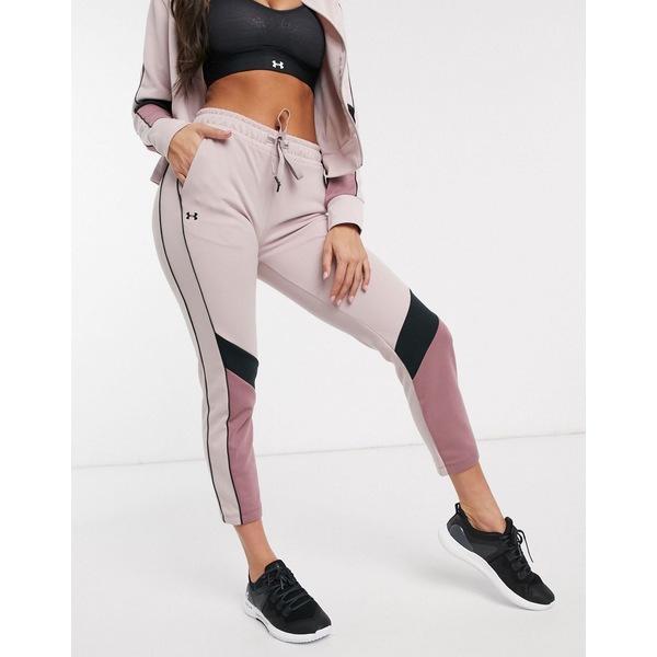 アンダーアーマー レディース カジュアルパンツ ボトムス Under Armour Training double knit sweatpants in pink Pink