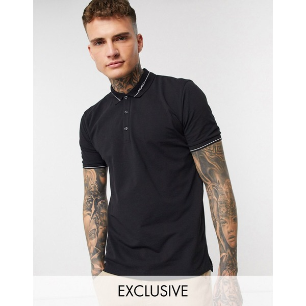 フューゴ メンズ ポロシャツ トップス HUGO Demoso202 collar logo polo in black Exclusive at ASOS Black