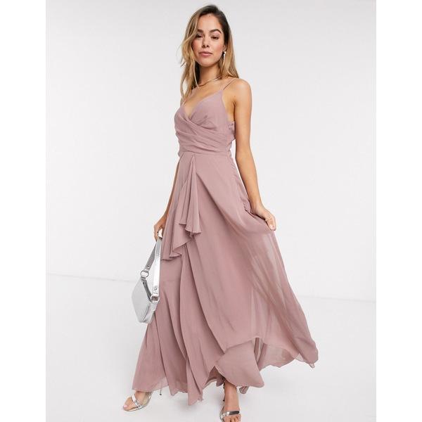 エイソス レディース ワンピース トップス ASOS DESIGN soft layered cami maxi dress in rose pink Rose pink