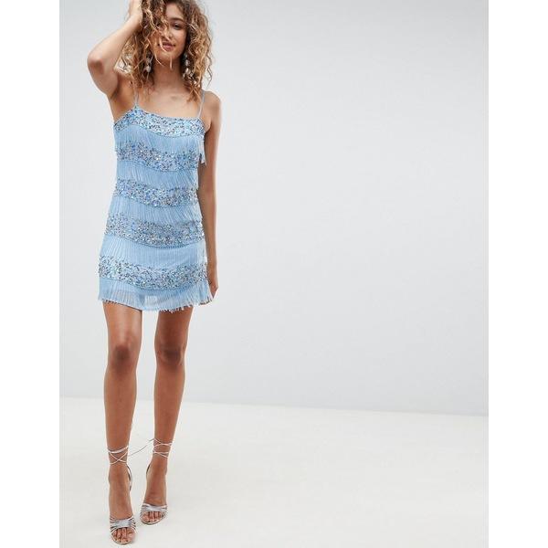 エイソス レディース ワンピース トップス ASOS DESIGN all over embellished fringe mini dress Pale blue