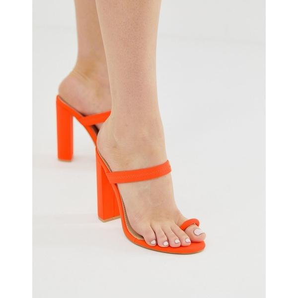 シミシューズ レディース ヒール シューズ Simmi Hailee neon orange toe loop sandals Neon orange