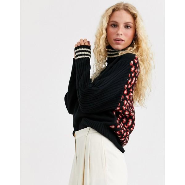 エッセンシャルアントワープ レディース ニット&セーター アウター Essentiel Antwerp Twister high collar sweater with leopard print Combo black