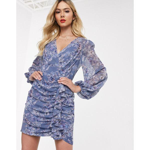 エバニュー レディース ワンピース トップス Ever New plunge ruffle mini dress in lavender print Lavender print