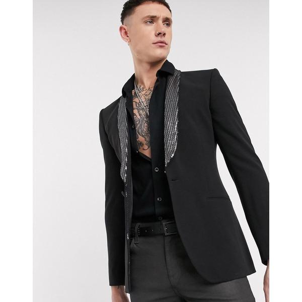 エイソス メンズ ジャケット&ブルゾン アウター ASOS DESIGN super skinny blazer in black with sequin lapel Black
