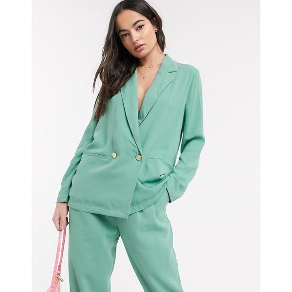 イチ レディース ジャケット&ブルゾン アウター Ichi pastel suit blazer Malachite green