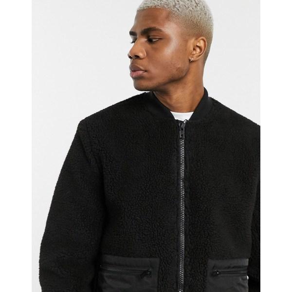 エイソス メンズ ジャケット&ブルゾン アウター ASOS DESIGN teddy bomber jacket in black Black