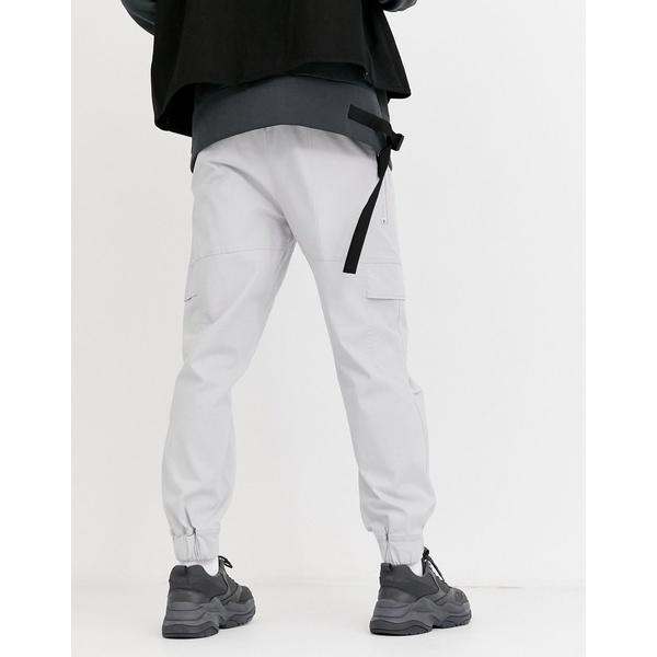 エイソス メンズ カジュアルパンツ ボトムス ASOS DESIGN oversized tapered pants with concealed pockets in gray Gray