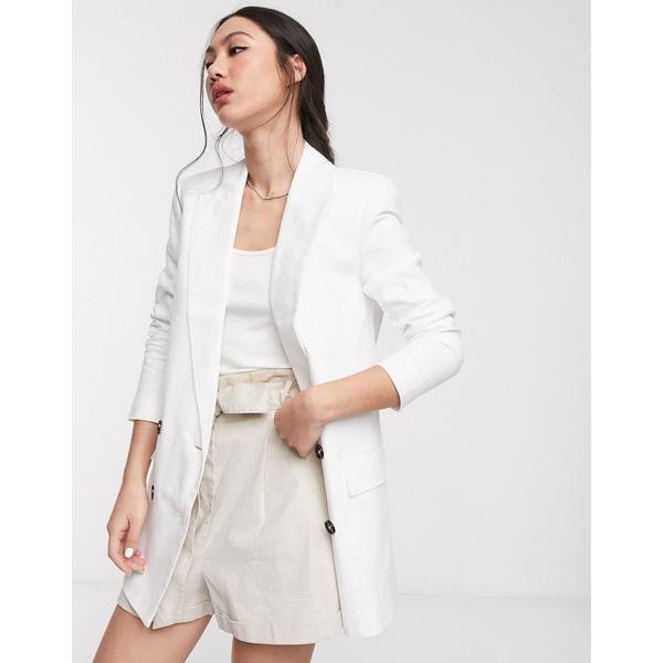 エイソス レディース ジャケット&ブルゾン アウター ASOS DESIGN linen dad blazer White