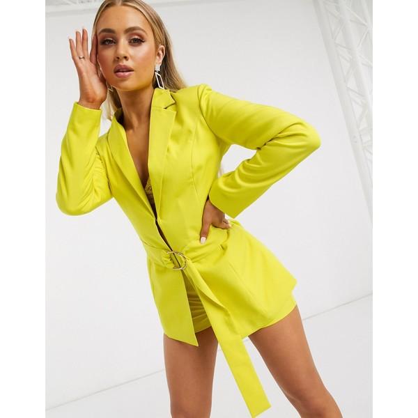 クラブエルロンドン レディース ジャケット&ブルゾン アウター Club L London belted blazer in lime Lime