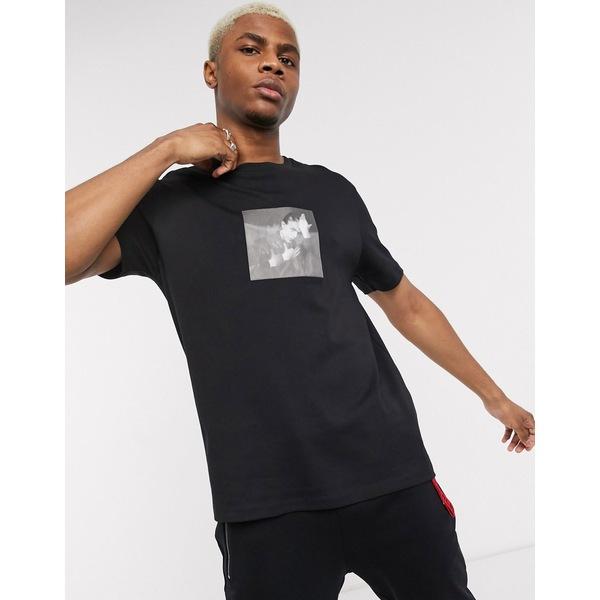 フューゴ メンズ Tシャツ トップス HUGO x David Bowie holographic t-shirt in black Black