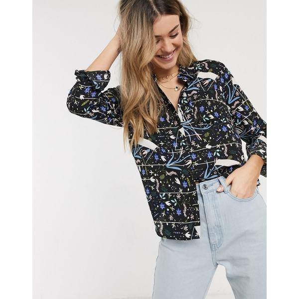 ジェイディーワイ レディース シャツ トップス JDY shirt in abstract floral print Multi