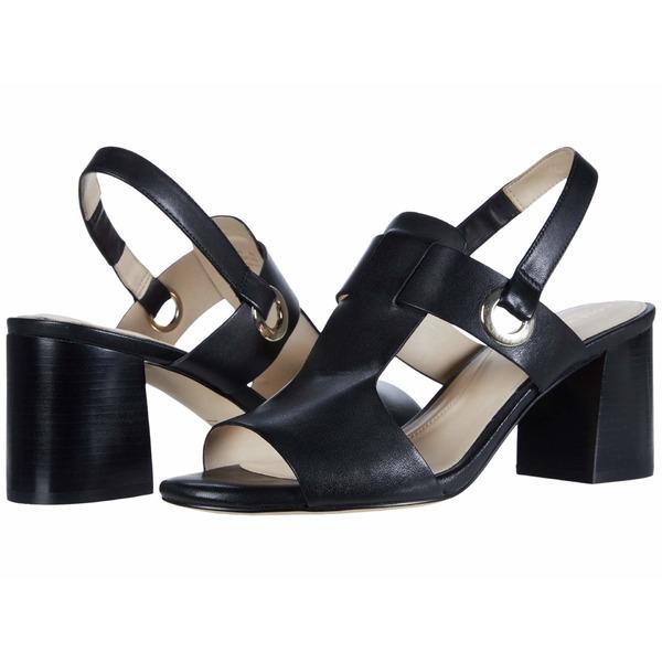 コールハーン レディース ヒール シューズ Adele Sandal (65 mm) Black Leather/Black Semi Shine Stack