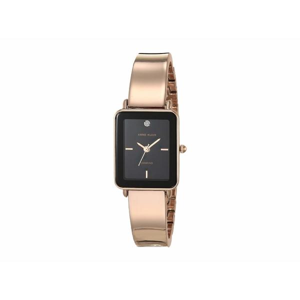 アンクライン レディース 腕時計 アクセサリー Diamond Dial Watch Black/Rose Gold-Tone