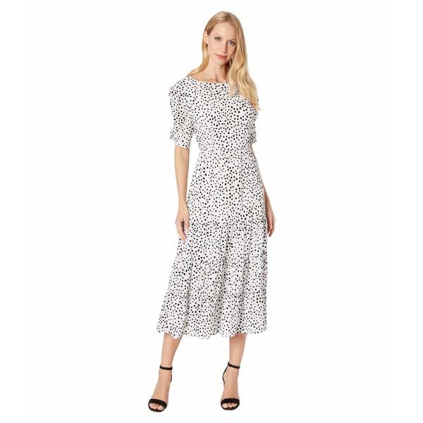 ビービーダコタ レディース ワンピース トップス Something About Dots Flocked Dot Tiered Midi Dress Ivory
