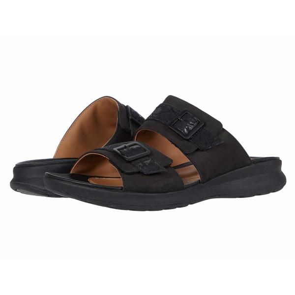 クラークス レディース サンダル シューズ Un Adorn Slide Black Nubuck/Leather Combi