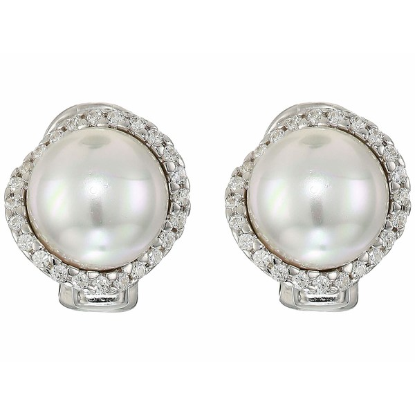 マジョリカ レディース ピアス&イヤリング アクセサリー Rosa 10mm White Flat Pearl w/ CZ On Sterling Silver Post Clip Earrings White