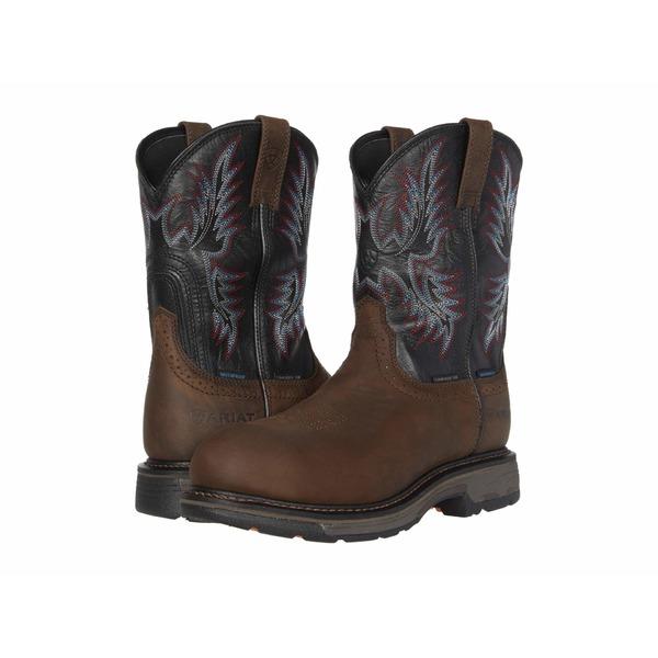 アリアト メンズ ブーツ&レインブーツ シューズ WorkHog Waterproof Composite Toe Oily Distressed Brown/Black