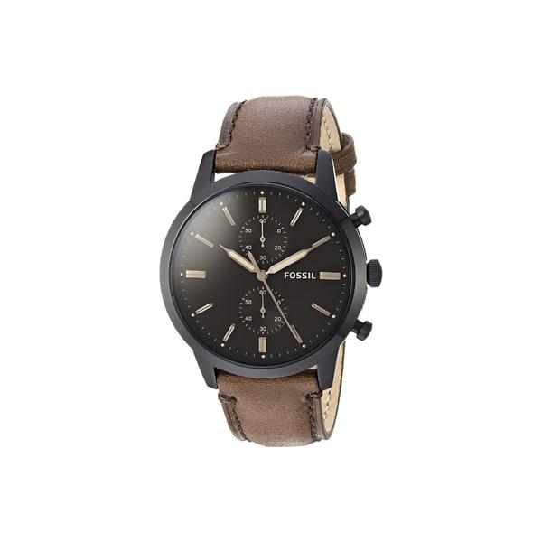フォッシル メンズ 腕時計 アクセサリー Townsman Chronograph Watch FS5437 Black Brown Leather