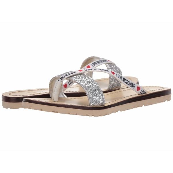ラブ モスキーノ レディース サンダル シューズ Glitter Flat Sandal Silver
