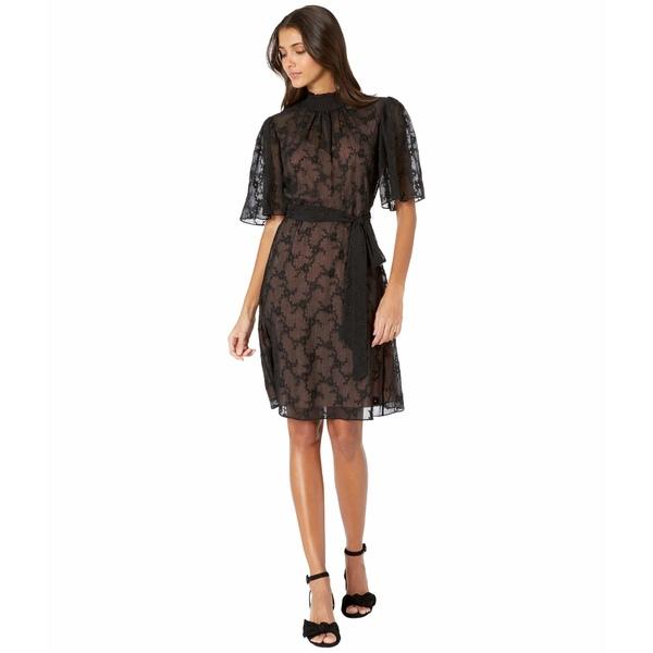 レベッカテイラー レディース ワンピース トップス Short Sleeve Vine Embroidery Dress Black Combo