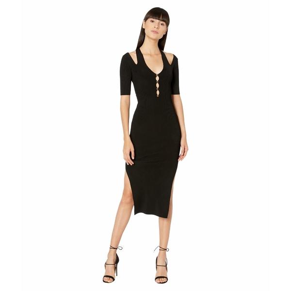 ベルサーチ レディース ワンピース トップス Knit Short Sleeve Midi Dress with Cutout Back Detail Black
