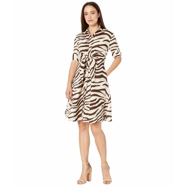 ラルフローレン レディース ワンピース トップス Petite Print Linen Shirtdress Dark Brown Multi