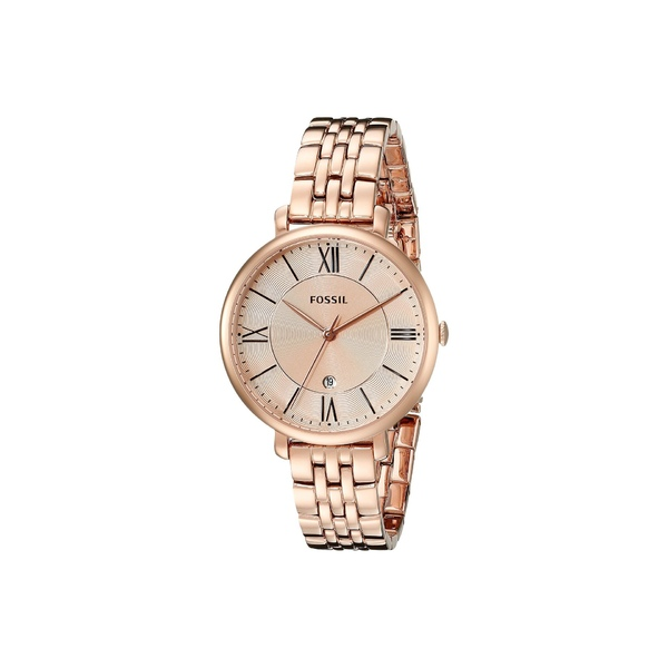 フォッシル レディース 腕時計 アクセサリー Jacqueline Three-Hand Stainless Steel Watch ES3435 Rose Gold Stainless Steel