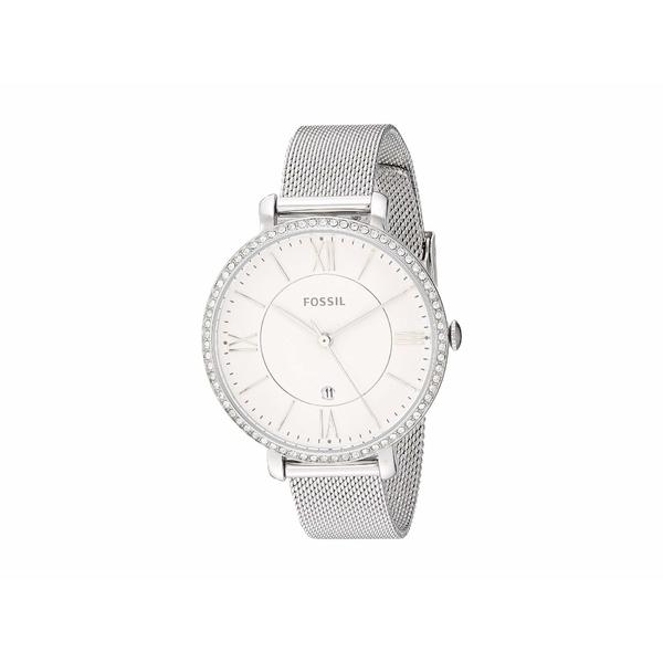 フォッシル レディース 腕時計 アクセサリー Jacqueline Three-Hand Stainless Steel Watch ES4627 Silver Glitz Stainless Steel Mesh