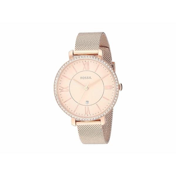 フォッシル レディース 腕時計 アクセサリー Jacqueline Three-Hand Stainless Steel Watch ES4628 Rose Gold Glitz Stainless Steel Mesh