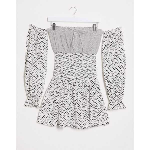 エイソス レディース ワンピース トップス ASOS DESIGN off shoulder shirred mini dress in mixed polka dot Mono spot
