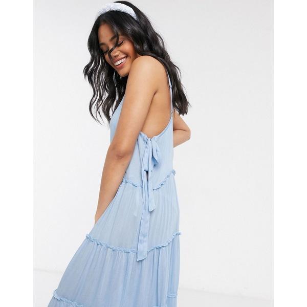 エイソス レディース ワンピース トップス ASOS DESIGN tiered side tie maxi beach dress in cornflower blue Cornflower blue