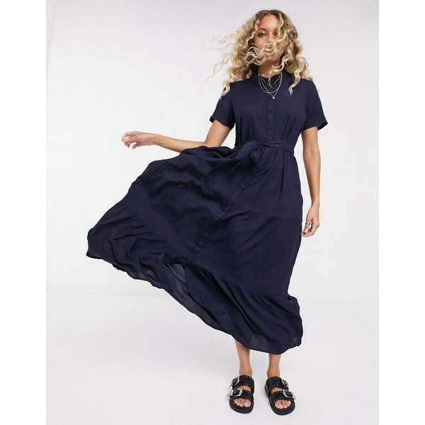 ヴェロモーダ レディース ワンピース トップス Vero Moda midaxi shirt dress in navy Night sky