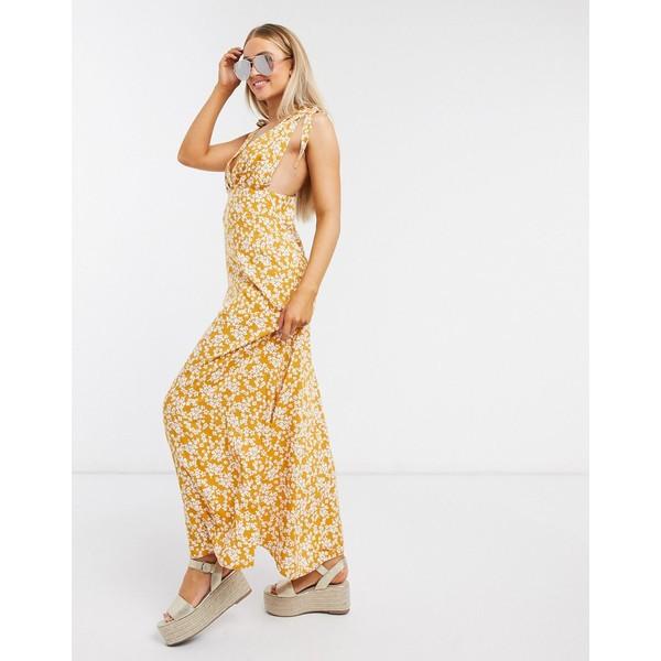 エイソス レディース ワンピース トップス ASOS DESIGN plunge tie shoulder maxi dress in mustard ditsy floral print Mustard floral