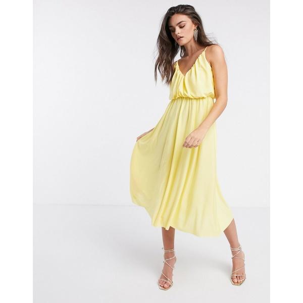 エイソス レディース ワンピース トップス ASOS DESIGN cami plunge midi dress with blouson top in lemon Lemon