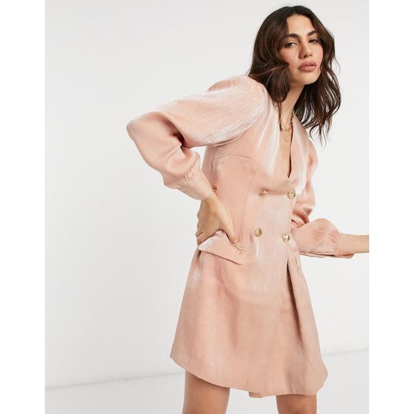 ユニーク21 レディース ワンピース トップス Unique21 tailored shimmer mini blazer dress Light pink