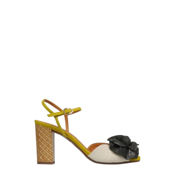 チエミハラ レディース サンダル シューズ Chie Mihara Floral Applique Sandals LinoBeigeAnteCurry