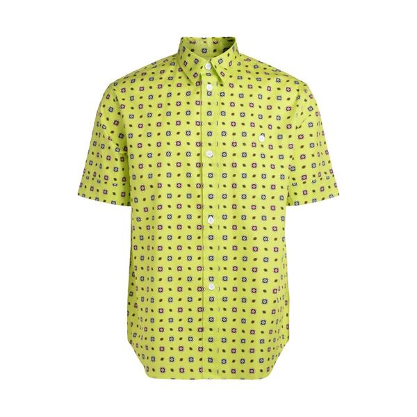 ケンゾー メンズ シャツ トップス Kenzo Yellow Fluo Shirt With Contrasting Multicolor Pattern. GIALLO