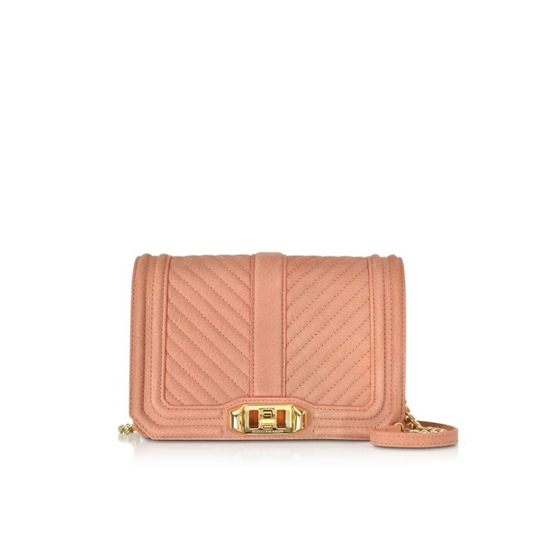 レベッカミンコフ レディース ショルダーバッグ バッグ Rebecca Minkoff Small Dusty Peach Quilted Leather Love Crossbody Bag Peach