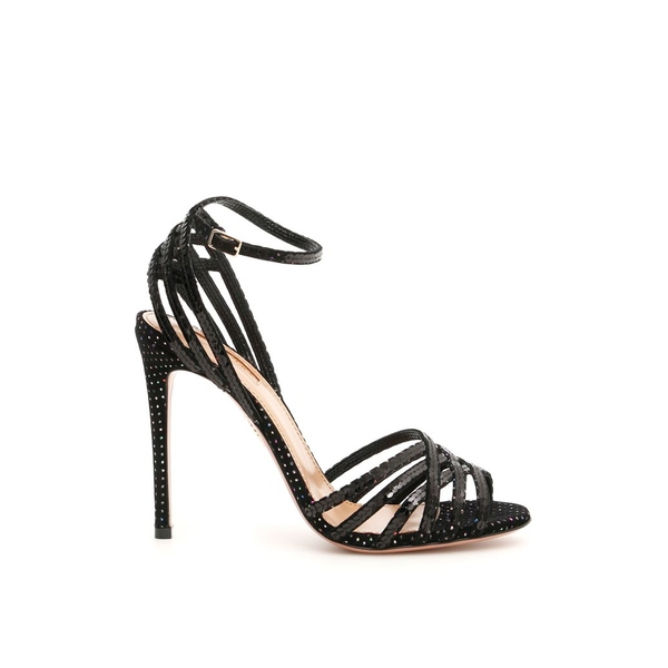 アクアズーラ レディース サンダル シューズ Aquazzura Velvet Studio Sandals With Sequins And Rhinestones BLACKMULTICOLORNero