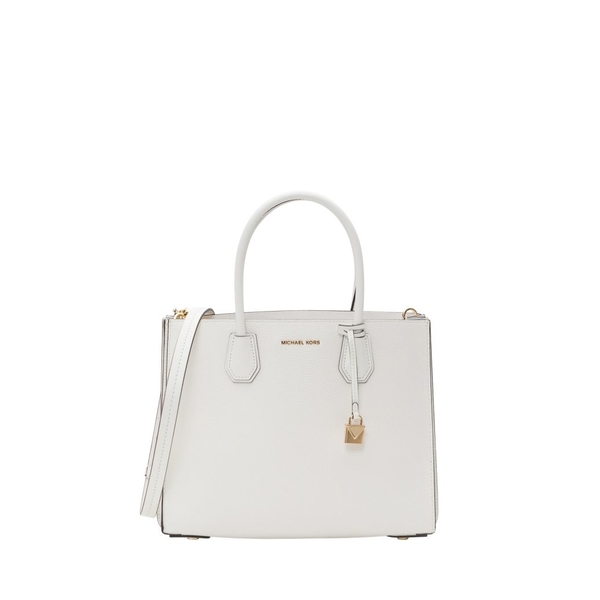 マイケルコース レディース トートバッグ バッグ MICHAEL Michael Kors Mercer Large Pebbled Leather Accordion Tote Bianco