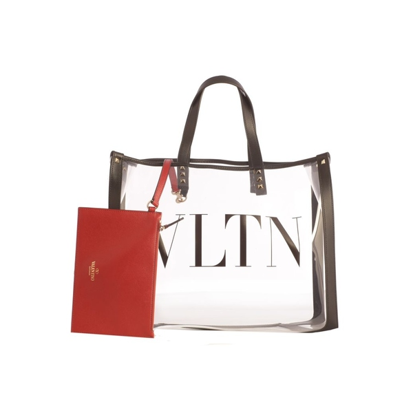ヴァレンティノ レディース トートバッグ バッグ Shopping Pvc With Leather Details And Vltn Logo TrasparentBlack