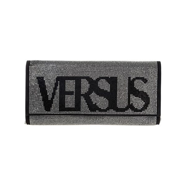 ヴェルサス ヴェルサーチ レディース ショルダーバッグ バッグ Versus Versace Leather Clutch With Shoulder Strap Handbag Bag Purse Vintage Logo Nero