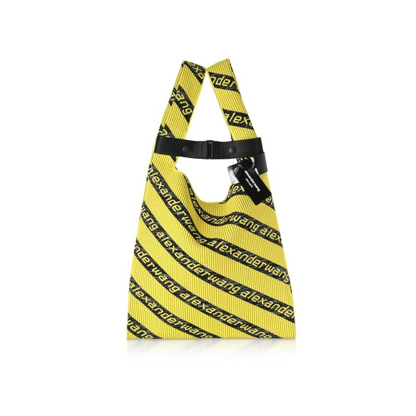 アレキサンダーワン レディース トートバッグ バッグ Alexander Wang Kint Jacquard Logo Soft Striped Canvas Shopper Yellow