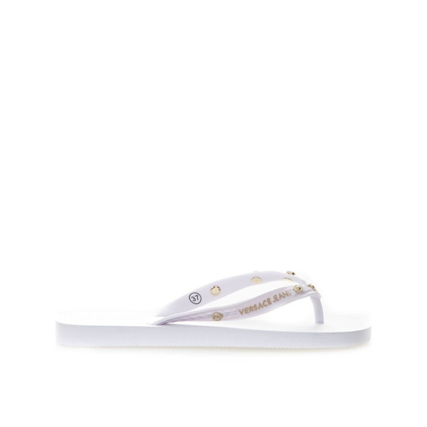 ヴェルサーチ レディース サンダル シューズ Versace White Rubber Flip Flop Sandals With Gold Studs White
